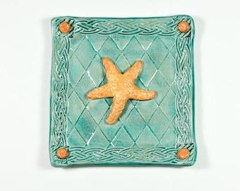 Starfish Tray - Turquoise - Handmade Ceramic