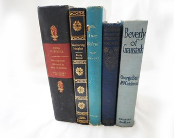 Vintage Book Collection Blue Fiction and Etiquette Anne Boleyn Wuthering Heights Anna Karenina Illustrated Tolstoy Bronte Womens Book Decor
