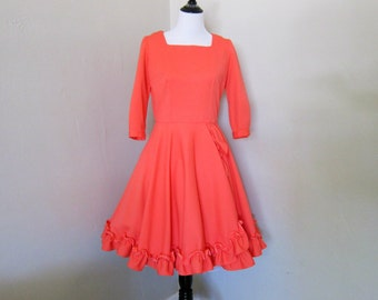 Vintage Coral Dress, 1960s or 1970s Bright Coral Orange 3/4 Button Sleeve Square Neck Dress, Ruffled Hem and White Scallop Skirt Decoration