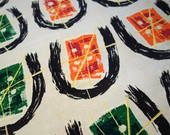 Vintage Barkcloth Scrap, One Piece Atomic Abstract Design Midcentury Fabric in Off White, Black, Green, Orange, Yellow, Great Project Piece!