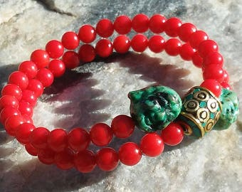 Red Coral Mala Bracelet- prayer beads- rosary with Turquoise Accents - 54 beads