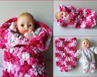 Huggums Sleeping Bag, Baby Doll Cocoon, Doll Bunting, Crochet Doll Clothes, Fits Huggums and Most 12 inch Dolls,  Color: Raspberries