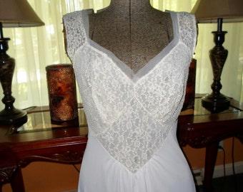 1950 Vintage Nylon Long Nightgown Vanity fair sz 36 Silky Vintage Lingerie