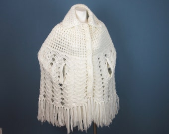 Vintage Mid Century Cape, Hand Crocheted, Extra Long