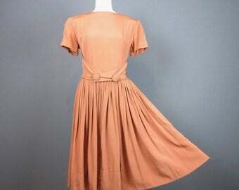 Vintage 1950s Dress, Belt, Wide Skirt, Sz M