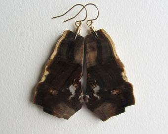 Petrified Wood Earrings with Gold Filled Fossilized Wood Jewelry Raw Natural Stone Jewelry Brown and Black Dangle And Drop Statement