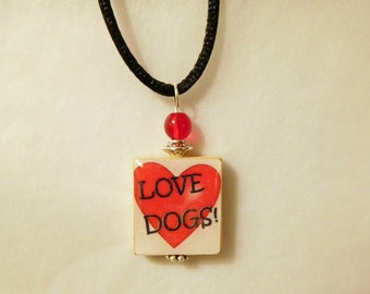 DOG LOVER SCRABBLE Pendant / Beaded / Handmade Jewelry / Charm / Necklace with Satin Cord / Love Dogs!