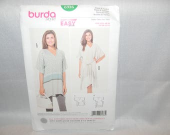New Uncut Burda Pattern 6936 Easy Dress and Tunic