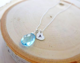 Bridesmaid gift idea, Personalized birthstone necklace, Natural Gemstones, Something Blue, hand stamped initial, Bridal jewelry, weddings
