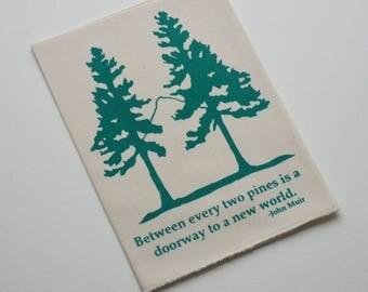 Organic Cotton Hanky Two Pine Trees Handkerchief Mens Hankie Wedding Favor Hankerchief