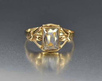 Vintage Aquamarine Engagement Ring, Aquamarine Ring, 10K Yellow Gold Ring Art Deco Ring, Gold Ring, BDA Ring, Alternative Engagement Promise
