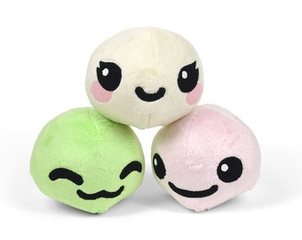 Mochi Japanese Dumpling Stuffed Plush Toy with Animal Variations Fox Kitty Panda Alpaca Bunny