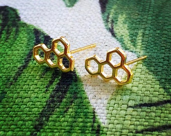 Honeycomb Earrings, Beekeeper, Honey Bee Jewelry, 18k gold Plated Earrings, boho Jewelry