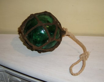 Antique NET FLOAT Rope Wrap Blue Green Glass hand blown vintage nautical maritime fishing