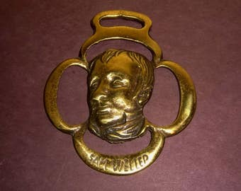 English Saddle Brass SAM WELLER Charles Dickens Character England Vintage Horse