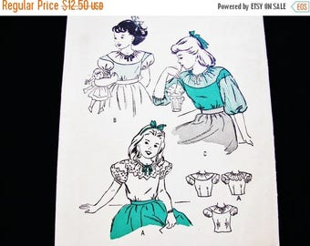 on SALE 25% OFF 1940s Girls Blouse Pattern, Size 6 40s Sewing Pattern Girls Top in 3 Styles Blouse Drawstring Neckline
