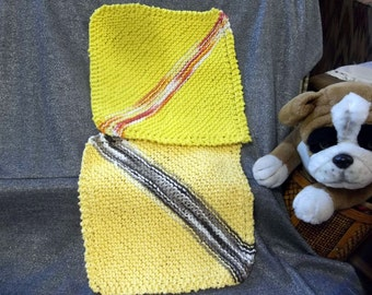 Knitted Cotton Dish Scrub Cloths, Mixed Set, Yellows with Stripes Color