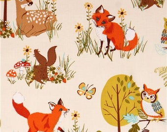 198488 beige forest animal & tree fabric 'Forest Fellows' by Robert Kaufman USA
