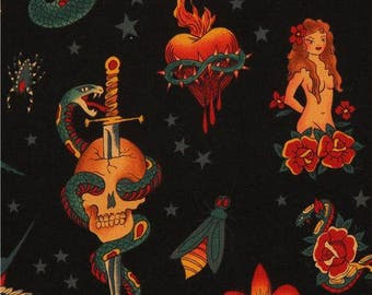 172437 black Alexander Henry fabric with tattoo paintings