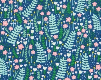 215028 dark blue with small flower leaf knit fabric Dear Stella