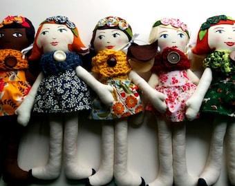 Custom Cloth Doll, Handpainted Heirloom Doll, Personalized Doll, Tag Doll, Soft Doll