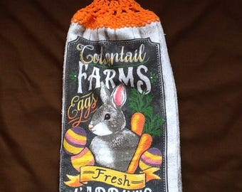 Double Hanging Kitchen Towels / Cottontail Farms Easter Towell / Hanging Towels / Hanging Kitchen Towels / Kitchen Towel / Towel