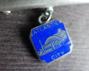 Vintage Atlantic City Convention Hall Souvenir Pin, Blue Enamel New Jersey Brooch, Jersey Shore Souvenir Atlantic City Gift