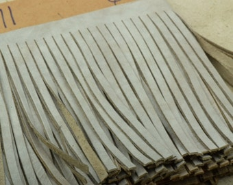 light taupe  Leather Fringe for embellishment of purses , jackets or other accessories, sold by ft (30 cm) - C1026/71
