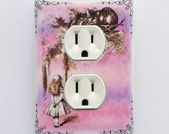 Pink Alice Outlet cover plates w/ MATCHING SCREWS- Alice in Wonderland collectibles Alice nursery Alice electrical outlet cover plates Alice