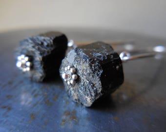 Black tourmaline earrings, black tourmaline crystal, black tourmaline jewelry, chunky, sterling silver 925 rough gemstone stone gem modern