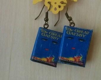 Mini The Great Gatsby Book Earrings - Handmade Book Jewelry - Handmade Book Earrings - F. Scott Fitzgerald Jewelry - Handmade Book Earrings