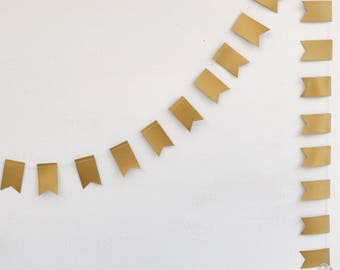 Gold Flag Wedding Garland - Party Decoration - Wedding Decor - Flag - Bunting - Christmas - Decoration - Gold Bunting - Choose Your Length