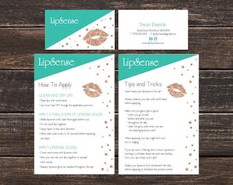 LipSense Branding Bundle  - LipSense Business Cards - Application Card, Tips and Tricks - Custom LipSense