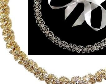 Gold Bridal Headband, Rhinestone Crystal Tiara, Flower Bridal Crown, Floral Wreath, Bridal Halo, Silver Wedding Headpiece, Gold Tiara, DOLCE