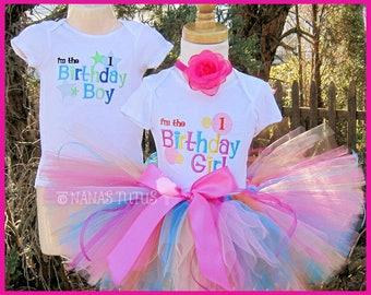 Custom -  Twin,His and Hers, Im the Birthday Girl and Im the Boy, Party Outfits,Theme Partie,  Size 1yr, 2yrs,3yrs.
