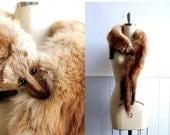 SALE Vintage Blond Stone Marten Two Pelt Stole // Fur Scarf Wrap
