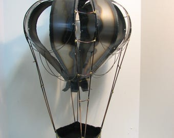 "Hot Air Balloon Metal Art, Vintage Sculpture, Huge 30"" Mid Century Jere Era Hanging Sculpture"