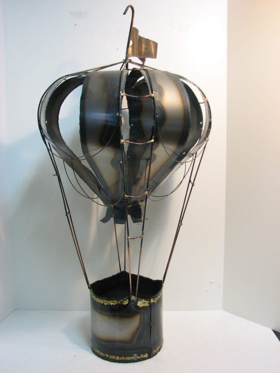 "Vintage Hot Air Balloon Metal Art Sculpture, Huge 30"" Mid Century Jere Era Hanging Sculpture"