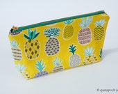 Reserved Pineapple handcrafted makeup bag,  wipeable polka dot black interior, zippered pouch, yellow, teal, abstract, handcrafted