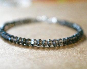 smokey topaz beaded bracelet. stackable smokey topaz bracelet. dark brown topaz bracelet. smokey topaz jewelry