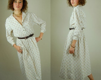 Preppy Cord Dress Vintage 90s Cotton Corduroy Foulard Preppy Slouchy Grunge Shirt Dress (s m)