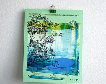 CLIFFHANGER #19 original beach screenprint in bluesky colors by Kathryn DiLego
