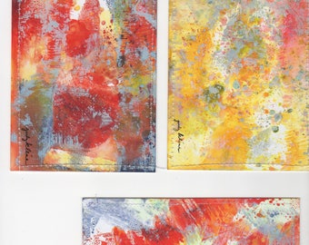Abstract Art Postcard Trio using Glossy Photo paper & Distress Oxide Inks