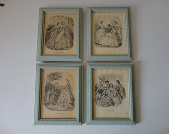 VINTAGE collection of 4 mint green WOOD picture FRAMES