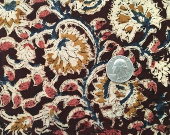 Hand Block Printed Cotton Fabric from India - Natural Vegetable Dyes - Bohemian Fabric by the Yard