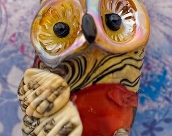 Remy .... lampwork owl bead...... sra