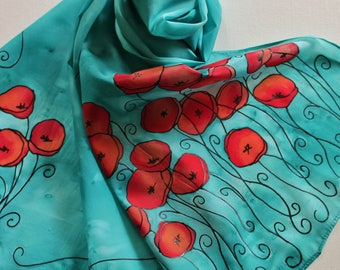Hand Painted Silk Scarf - Handpainted Scarves Aqua Turquoise Blue Teal Poppies Poppy Red Orange Peach Floral