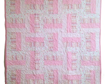 "Sale was 69.00 now 49.00   Baby Girl Quilt, Pink Quilt, rail fence, 38""x38"""