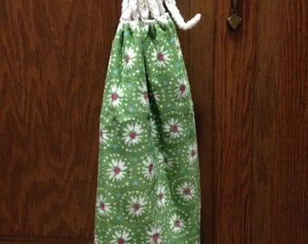 kitchen towel with a crocheted top.  Green with white flowers towel, Pioneer Woman towel, hand towel