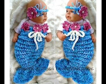 CROCHET PATTERN -Instant Download- Mermaid Tail, Photo prop,  newborn- 12 months, Headband, Flower, # 1141M, Easy beginner,